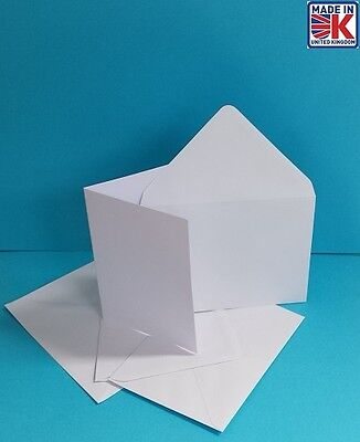 50 x A6 WHITE BLANK GREETINGS CARDS WITH ENVELOPES