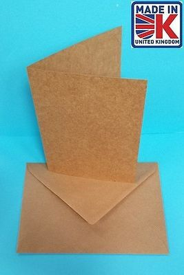 50 x A6 RECYCLED 280GSM KRAFT CARD BLANKS WITH RIBBED KRAFT ENVELOPES