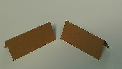 100 x  KRAFT BROWN  TABLE PLACE NAME CARDS- BLANK- WEDDINGS ETC -100% RECYCLED