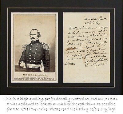 Confederate Gen Albert Sidney Johnston letter (autograph) PROFESSIONALLY MATTED
