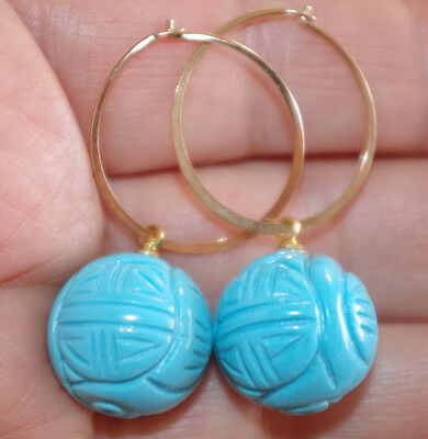 HANDMADE QUALITY 14K GF CARVED CHINESE FOCAL POINT TURQUOISE DROP HOOP EARRINGS
