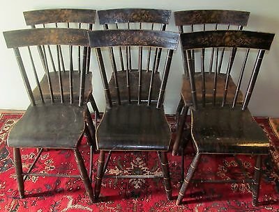 Early 19Th C Set Of 6 Dh Batchelder Antique Windsor Chairs In Tole Paint