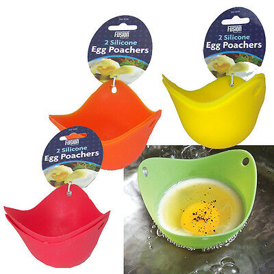 2 x SILICONE MOULD POACHED EGG POACHERS KITCHEN COOKWARE BREAKFAST POACH PODS