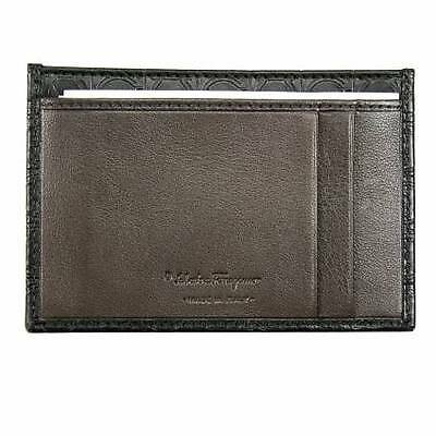 Salvatore Ferragamo Leather Credit Card Case - Deep Black