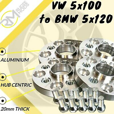 VW 5x100 to BMW 5x120 20mm Hubcentric Car PCD Adaptors 2 Pairs