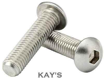 "6,8,10,1/4,5/16,3/8"" Unc Button Head Bolts A2 Stainless Steel Skt Screws, Harley"