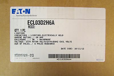 EATON CUTLER HAMMER ECL03D2H6A 6 Pole 60 Amp Lighting Contactor 3R Encl 277 V
