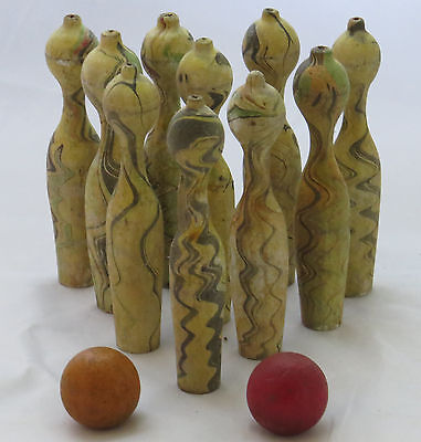 Wooden 10 Pin Skittle Bowling Table Top Antique Parlor Game Wood Balls Victorian