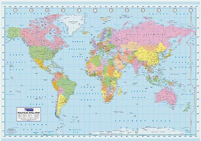 GIANT WORLD MAP GPW6001 SHOWING COUNTRIES & TIME ZONES SEAS OCEANS 140cm X 100cm