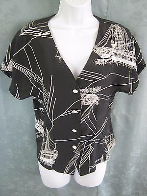 VTG Cami Sport Women's Blouse Size Medium B & W Sailing Ship Print Collarless