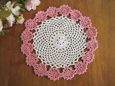 Chic Rose Red Flower Hand Crochet Cotton Doily F