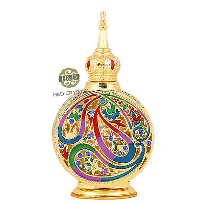 Gold Hand-made Glass Perfume Bottle  Oil Diffuser Vintage Refillable Empty 18ML
