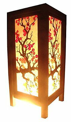 NEW Thai Asian Japanese Bedside Table Light / Lamp - Wood Paper Flower Berries