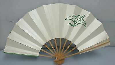 Sense of Japan Green and white reversible Picture of crane Folding fan