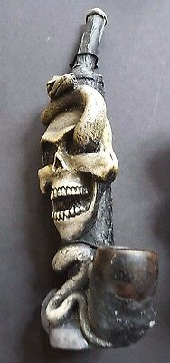 Artisan Skull And Snake 2  Handcrafted Pipe