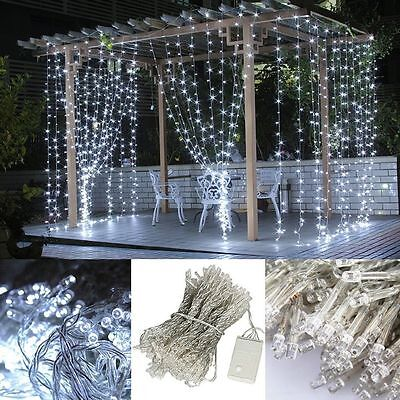 OZ 3M*3M/300LED Fairy Curtain Mesh Christmas String Light Garden Outdoor Wedding