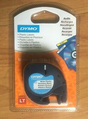 1 x ORIGINAL DYMO LETRATAG WHITE PLASTIC TAPE CARTRIDGE 91201 12mm. x 4m.