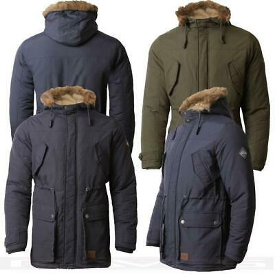 Mens Parka Jacket Threadbare Hooded Padded Coat Faux Fur Lined Winter DMT 013