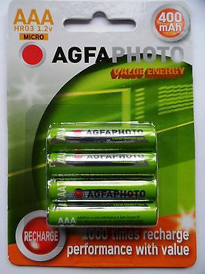 4 x AAA HOME PHONE DECT RECHARGEABLE BATTERIES AGFA 400mAh - 44.5mm LONG