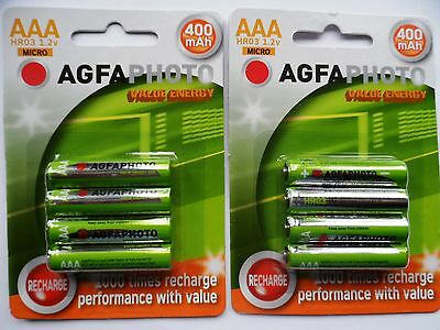 8 x AAA HOME PHONE DECT RECHARGEABLE BATTERIES AGFA 400mAh -44.5mm LONG