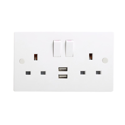 Electrical Plug Double Gang Socket With 2 USB Outlets Electric Wall Faceplate