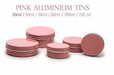 Empty Aluminium Cosmetic Pot Jar Tin Container PINK Sample lined EPE insert