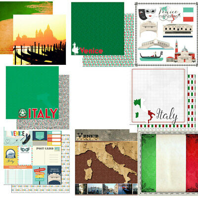 "CUSTOM SCRAPBOOK PAPER SET GERMANY TRAVEL VACATION 12/"" x 12/"" PAPERS KIT"