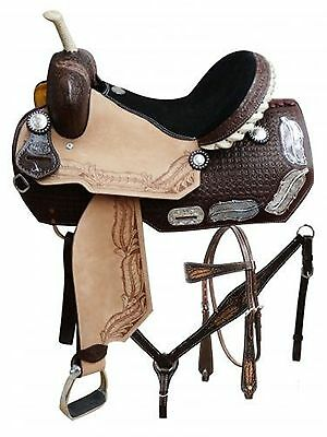 """14"""" Double T Barrel Style Saddle Set with Silver Feather Inlay on Skirts"""