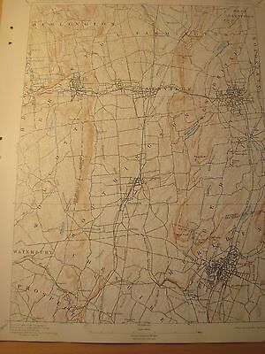 Antique USGS Map 1908 CT: Meriden, Waterbury, Cheshire, New Britain, Bristol
