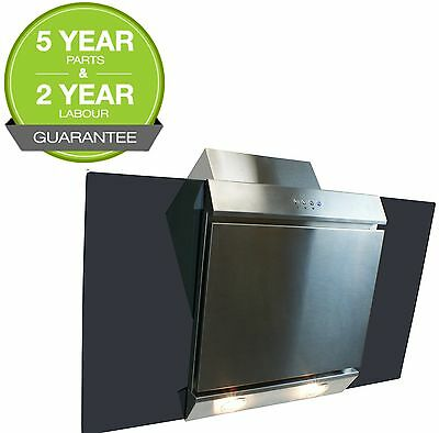 Cooker Hood 90cm Angled Extractor Chimney Hood  Glass & Stainless Steel ElectrIQ