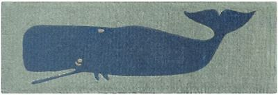 Nautical Whale Design Dark Grey & Light Grey - 100% Coir Doormat / Door Mat LONG