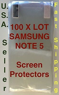 100X Lot Samsung Galaxy Note 5 Screen Protectors Clear HD High Quality Shields