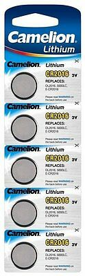 5 x Camelion CR2016 2016 3V Lithium Car Key Fob Coin Batteries Long Expiry Date