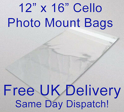 Clear Cellophane Cello Display Bag Picture Photo Mount Bags Artwork Bags 16 x 12