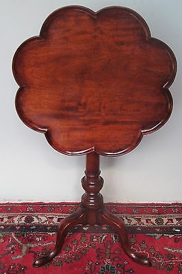 18Th C Antique Chippendale Tray Top Tilt Top Mahogany Kettle / Candle Stand