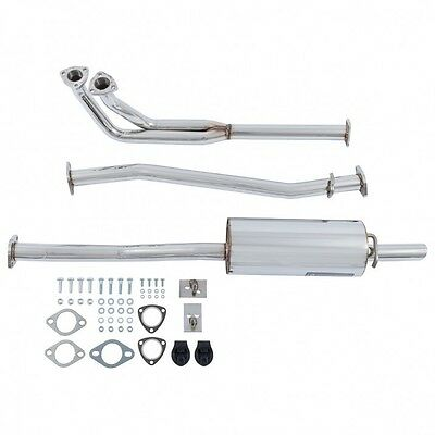 New Complete Exhaust System Polished Stainless Pipes Muffler & Hardware MGB 075
