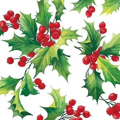 New 40 pc Lunch Paper Napkins Holiday Winter Christmas HOLLY BERRIES  Germany