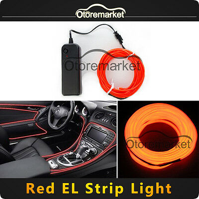 3M Red Flexible EL Wire Tube Rope Neon Light Glow Controller Party Decor Lamp