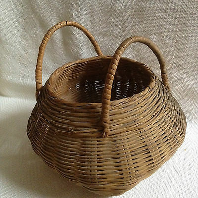 Antique Japanese Hand Woven Hanakago Bamboo Basket