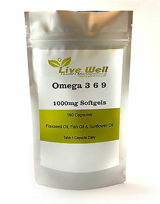 Omega 3 6 9 1000 mg, High in essential fatty acids. Various pack sizes soft gels