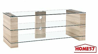 tv hifi tisch lowboard sonoma phono regal fernsehtisch holz sideboard glas rack eur 139 90. Black Bedroom Furniture Sets. Home Design Ideas