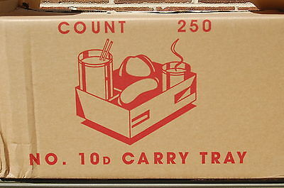 1-Box of 250 / Folding No. 10D Carry Tray Take-out 4-Cup Pop Up Carrier (#M3925)