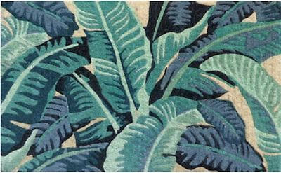 Tropical Leaves Colourful Blue Green Hues - 100% Coir Doormat / Door Mat REGULAR