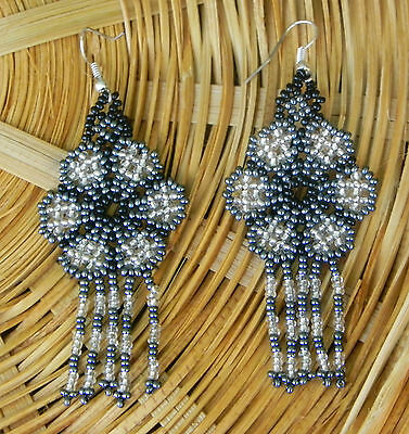 Unique Mexican Huichol Art Beaded Earrings- Jewelry Hand Made LE15