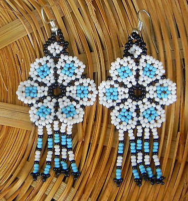 Unique Mexican Huichol Art Beaded Earrings- Jewelry Hand Made LE20