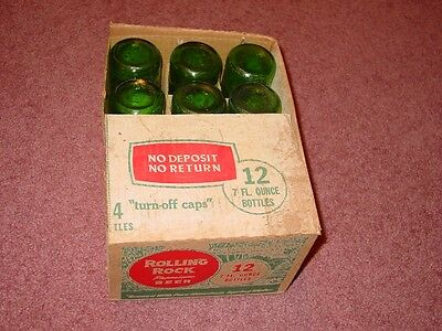 Rolling Rock Glass Beer Bottle Lot of 12 with Box 7 oz Latrobe PA