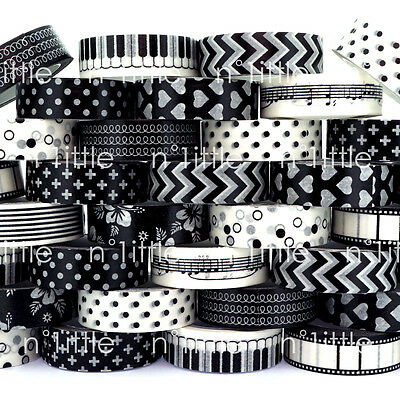 BLACK & WHITE Paper Washi Tape Masking Adhesive Roll Decorative Card Craft WT-06