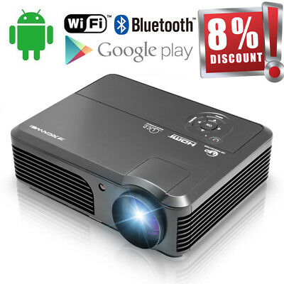 1080p Bluetooth Android WiFi Beamer LCD Heimkino Video Flim Projektor HDMI USB