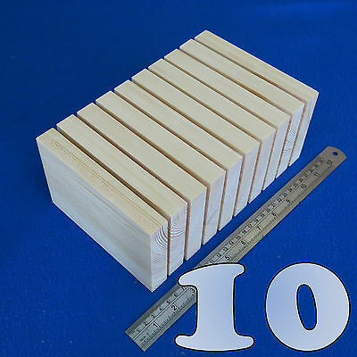 "LOT 10 x 4"" x  6""/100 x 150 mm WOODEN BLOCKS BUNDLE SET PINE WOOD NATURAL PLAQUE"