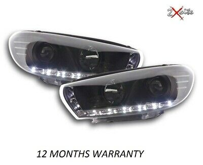 Vw Scirocco 2008 On Black Drl Led R8 Style Devil Eye Projector Headlights